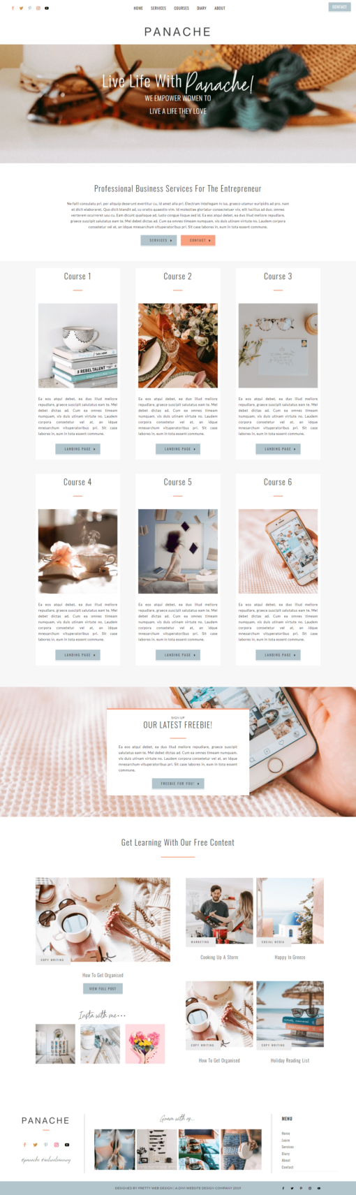 Divi website layout for coaches