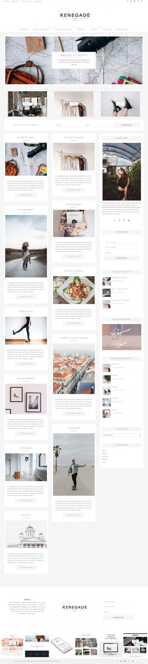 Divi child theme layouts I Feminine WordPress themes I Divi child themes for the bloggers. Feminine Divi WordPress themes for photographers, weddings Divi Child Themes for the Divi theme