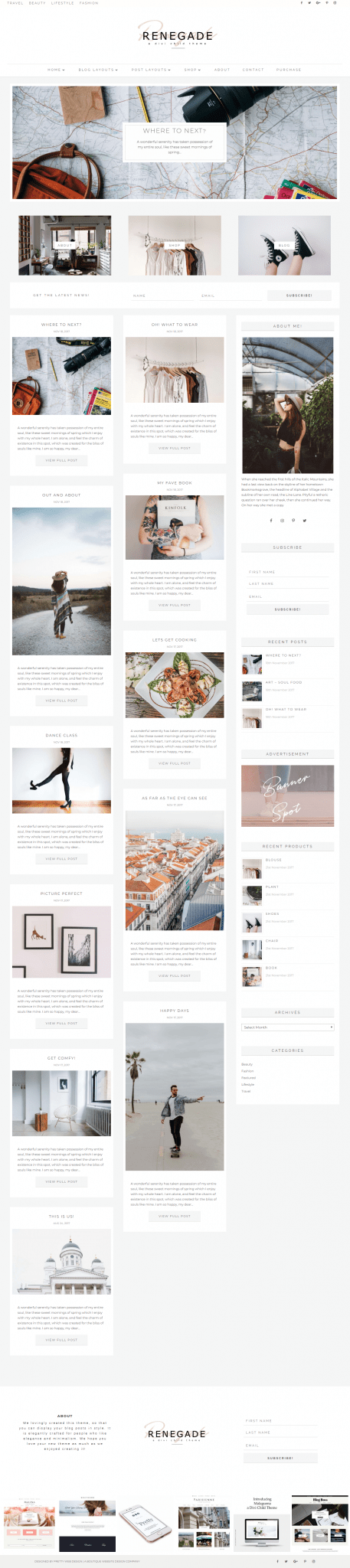 Divi child theme layouts I Feminine WordPress themes I Divi child themes for the bloggers. Feminine Divi WordPress themes for photographers, weddings Divi Child Themes for the Divi theme