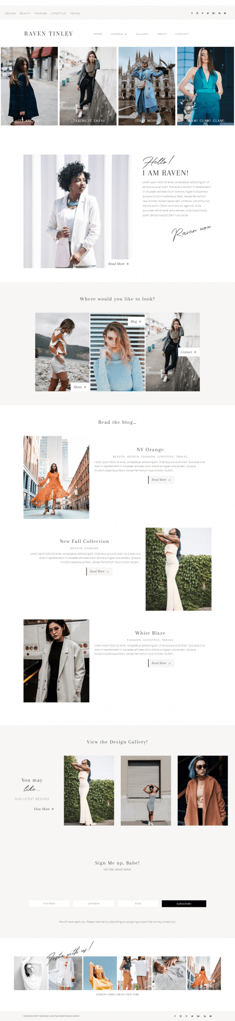 Raven Tinley Divi Fashion Blog theme