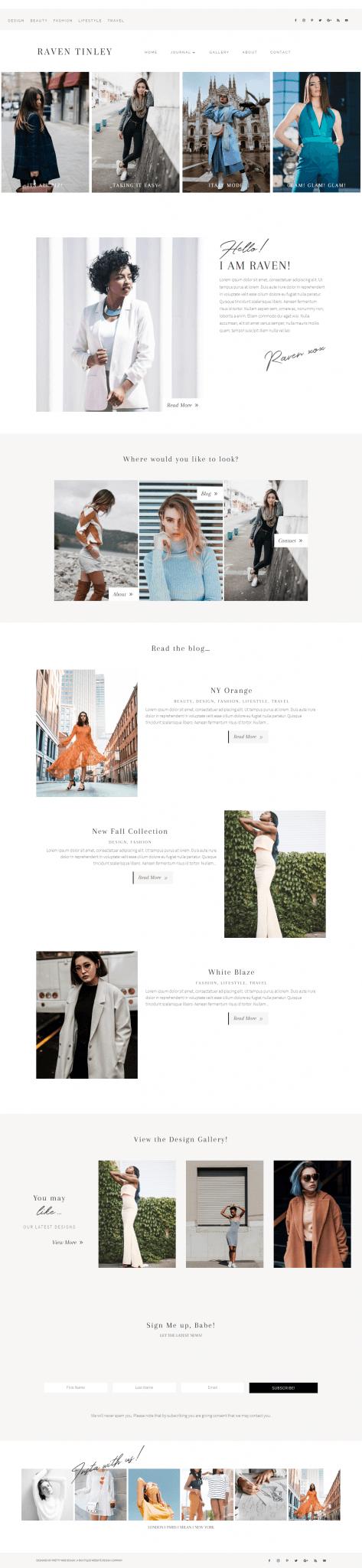 Raven Tinley Divi Fashion Blog theme