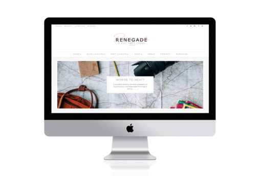 Renegade Divi Child Theme -A minimal, masonry Divi Builder Layout theme for bloggers. This theme is built on the Divi framework for photographers, bloggers