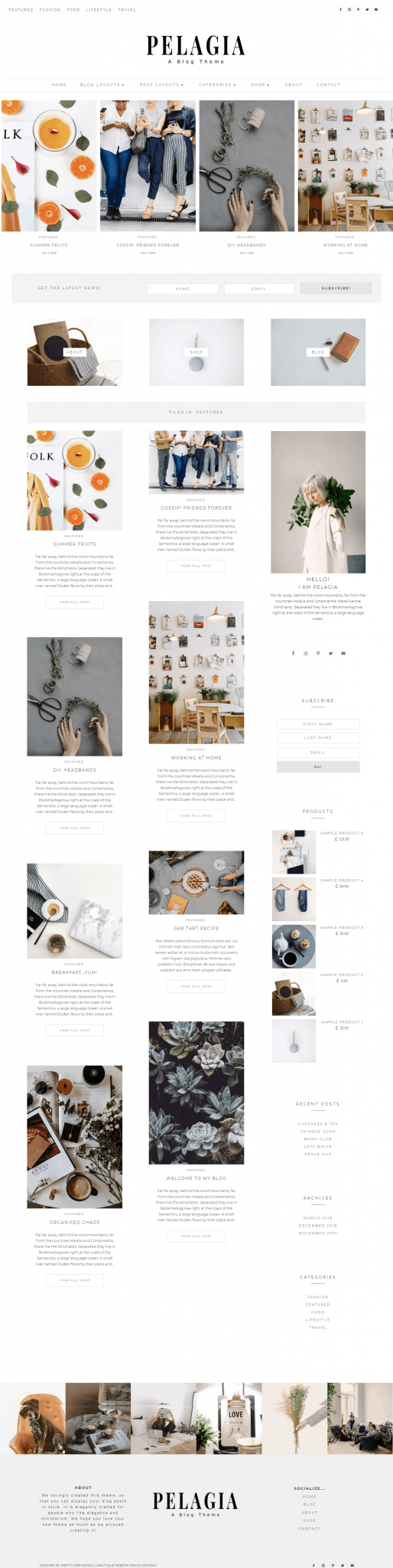 Pelagia Divi Masonry Blog child theme for Divi