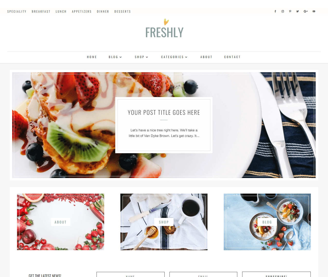 Freshly, a Divi Food and recipe blog child theme.