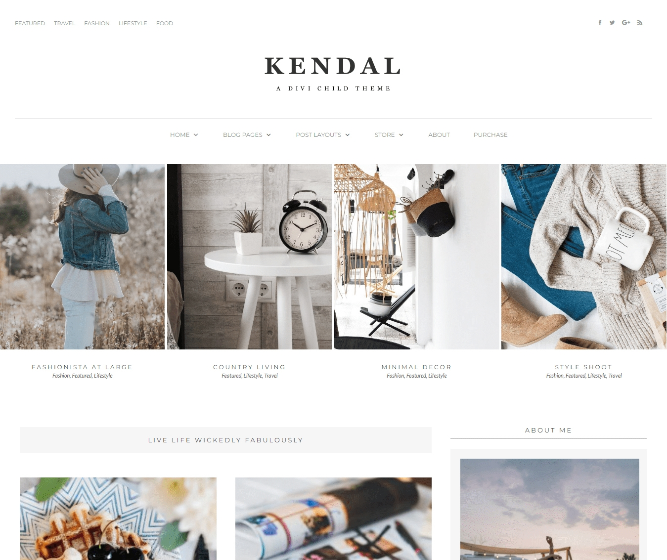 Kendal is a minimal, masonry feminine Divi blog child theme for the lifestyle, travel & fashion blogger with featured grid style posts