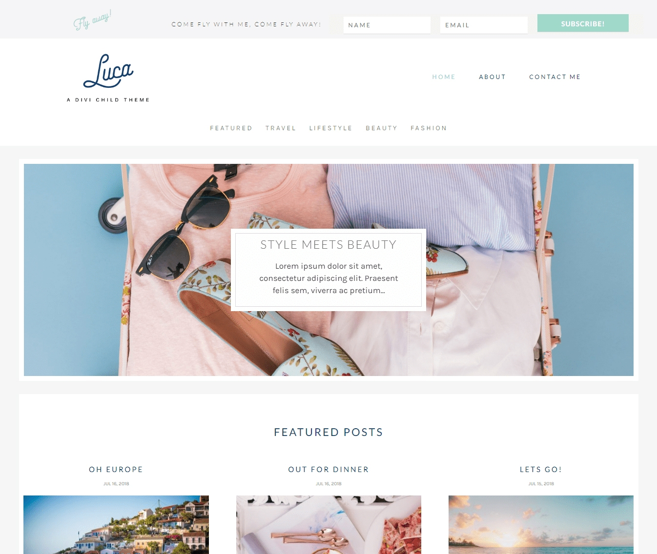Luca is a Divi custom designed child theme for travel, beauty fashion and lifestyle bloggers