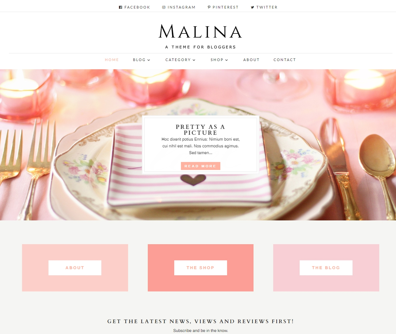Pink & pretty, Malina Feminine Divi blog child theme has it all for the lifestyle bloggers who love multipurpose layouts