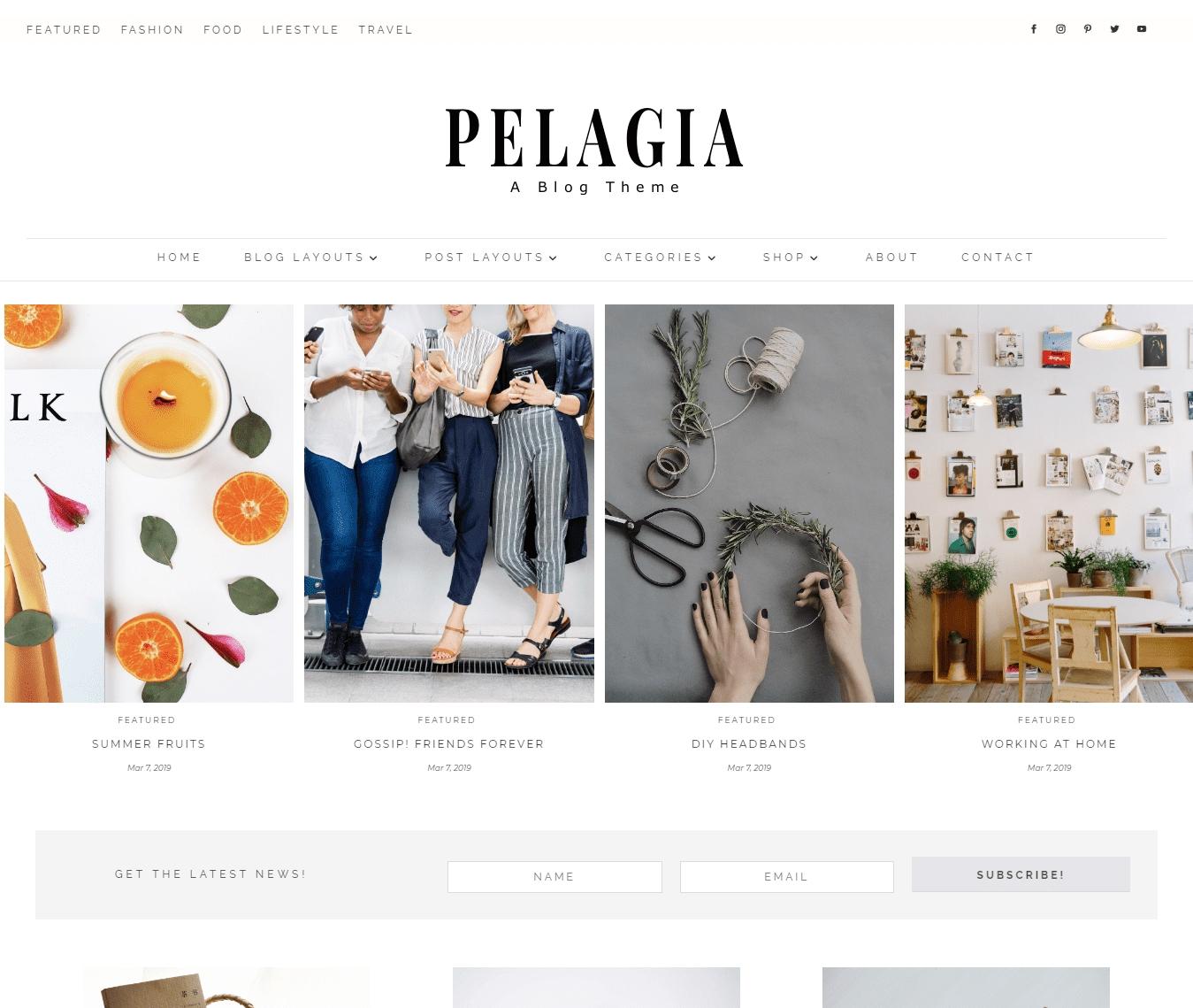 Pelagia, a minimalist, feminine masonry blog theme for Divi.