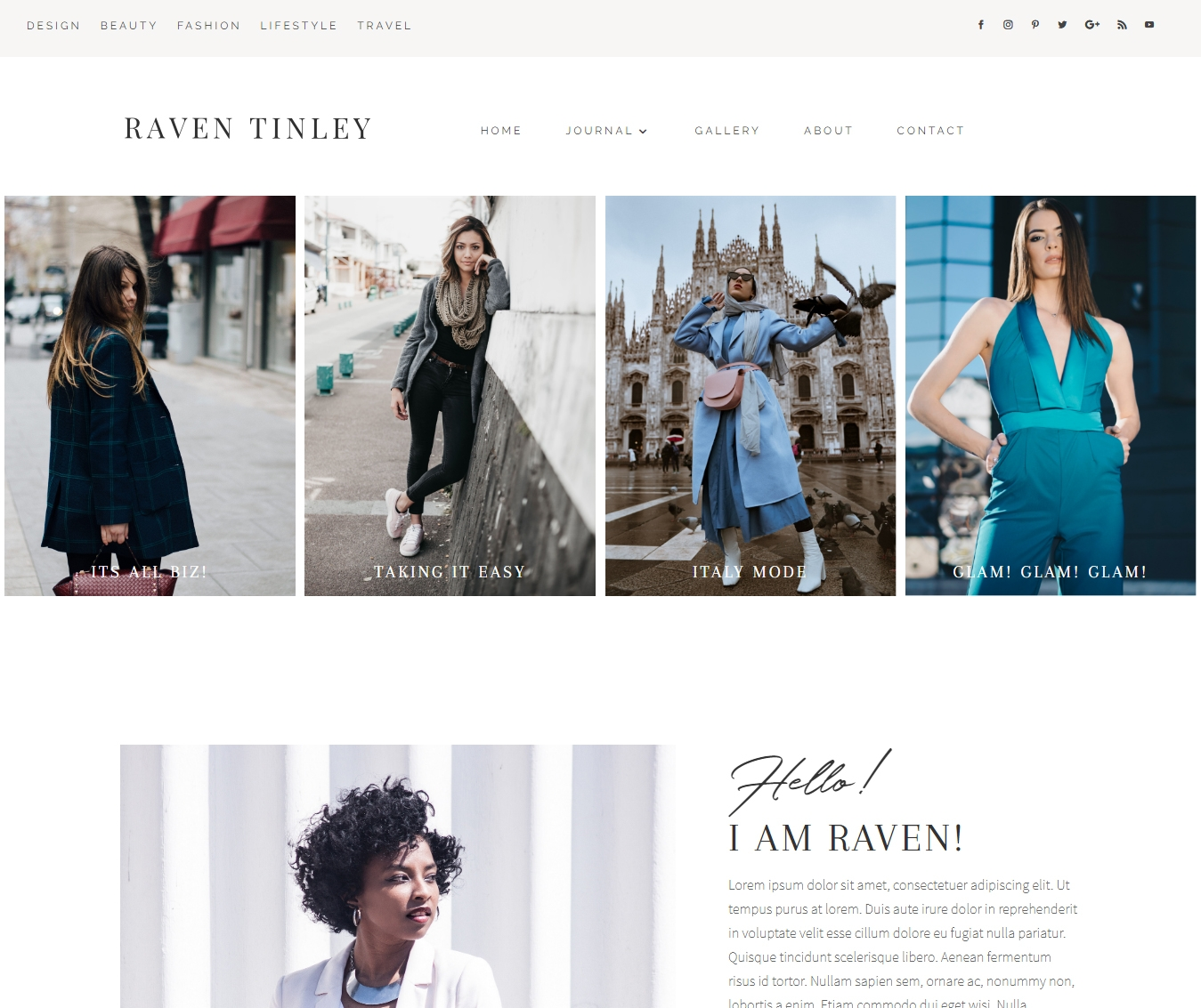Raven Tinley is a custom Divi Child theme for fashion and lifestyle girl bosses. Own it with a custom blog feed, Divi Gallery and Instagram feed.