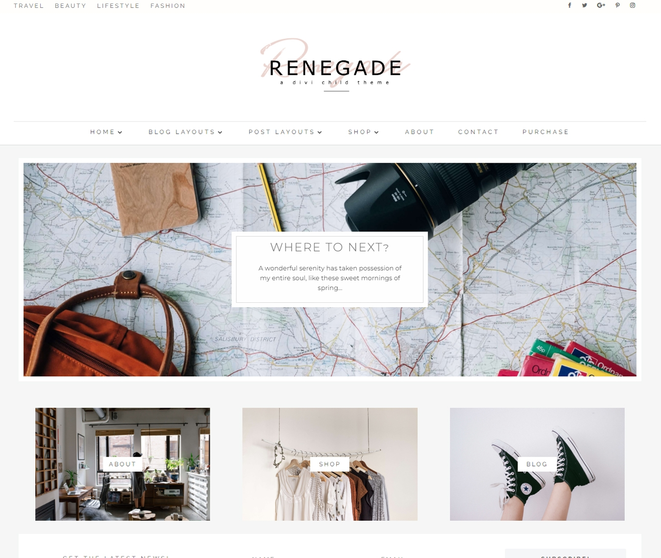 Renegade is a minimal, masonry Divi blog child theme for the modern creative blogger.