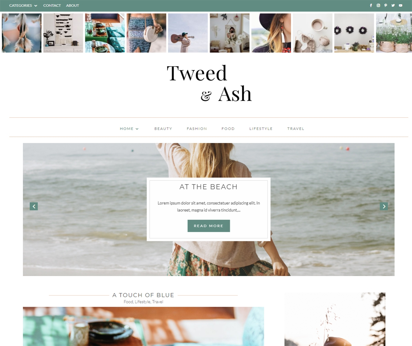 Boho, chic Divi Blog theme for hipsters. Tweed & Ash designed in muted colours with an emphasis on growing your Instagram