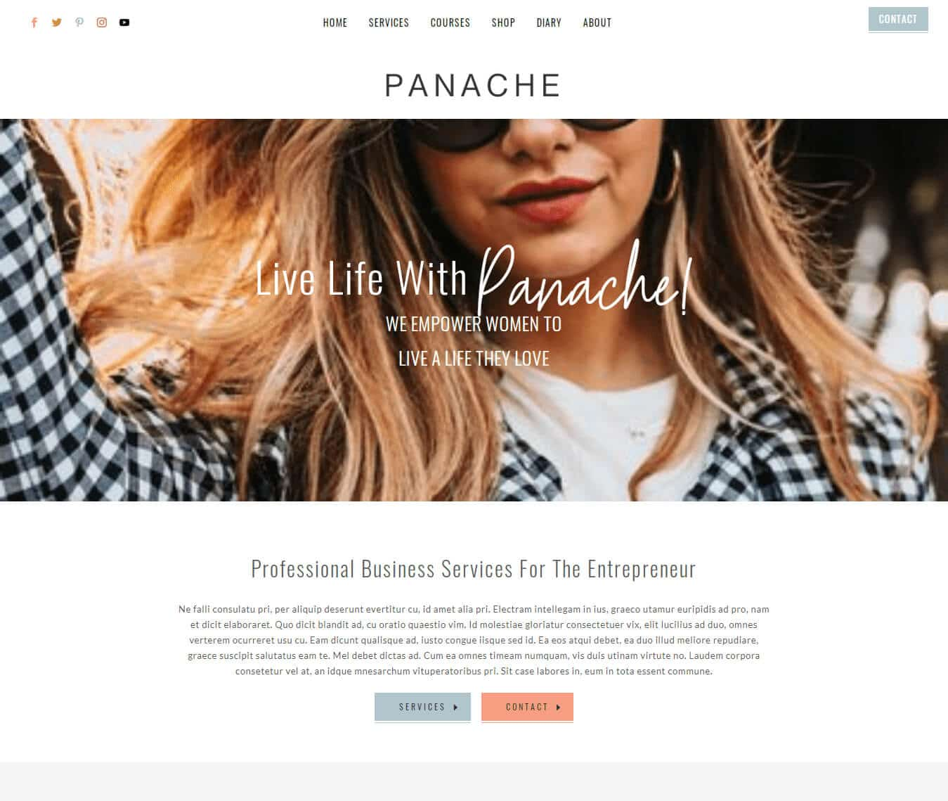 Panache Divi Child theme template for coaches, authors, online course creators and copywriters.