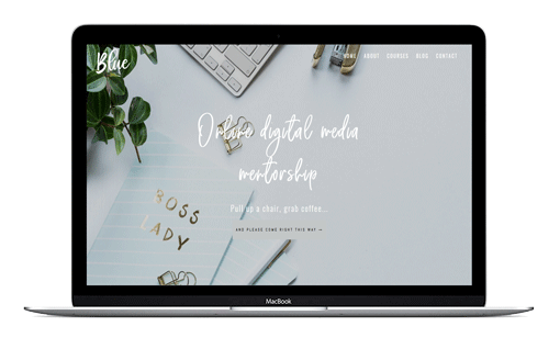 The Blue Divi child theme is fun and playful. Designed for virtual assistants, social media managers, course writers and copywriters