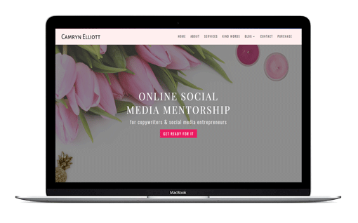 Camryn a Divi Child theme template for authors, online course creators and social media writers. Pretty in pink with a dark pink accent to add pizzazz.